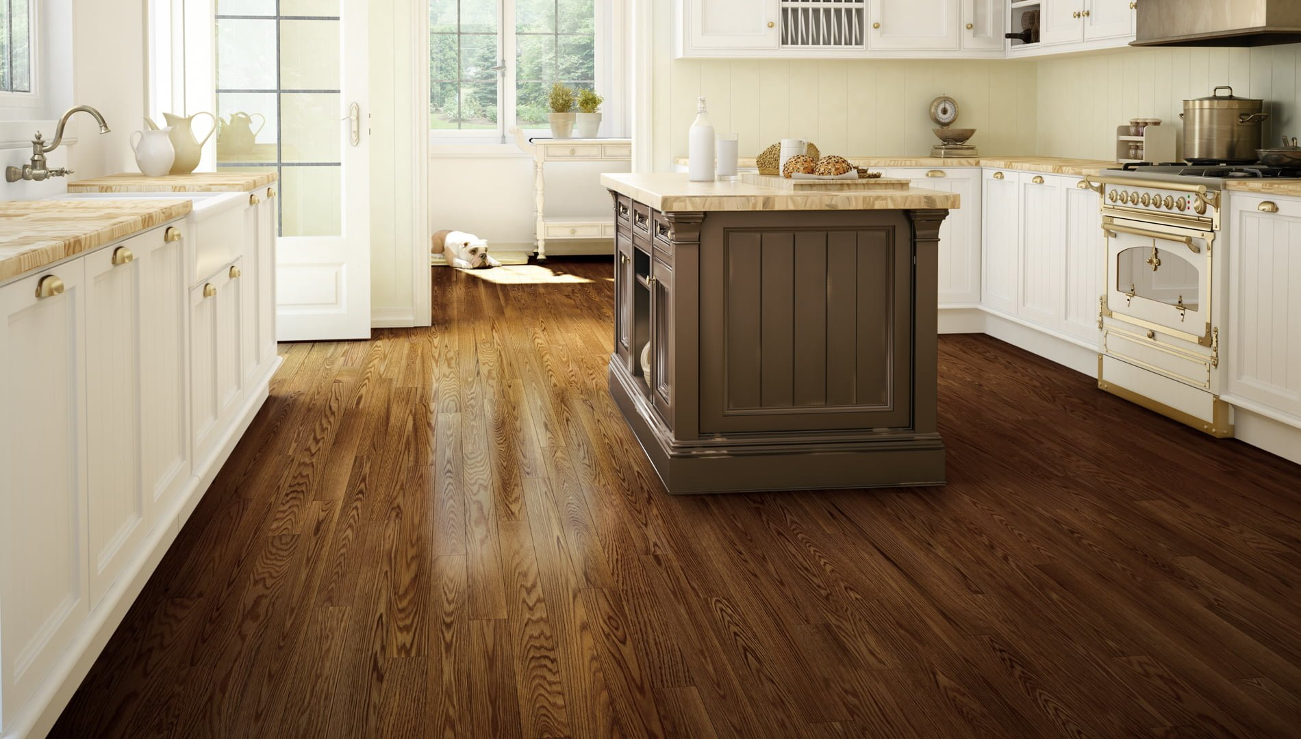 Dining Room Red Oak Hardwood Flooring Dark Brown Cigarillo